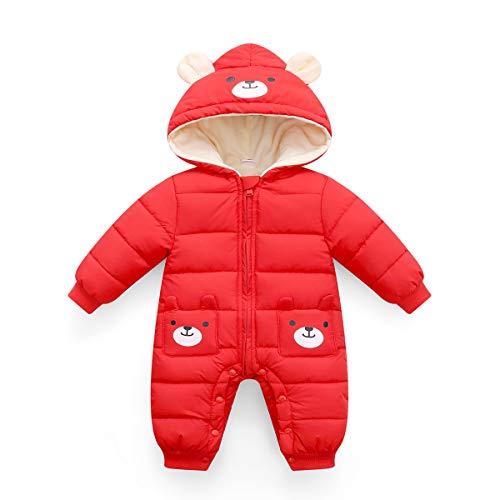 Dziecięcy kombinezon zimowy z kapturem, śpioszki, kombinezon śniegowy, dla chłopców i dziewczynek, z długim rękawem, ciepły, świetny prezent dla dzieci w wieku 0-24 miesięcy., czerwony, 70 cm