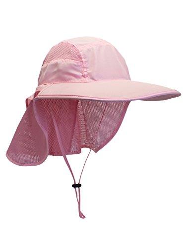 WANYING Damen UV Schutz Sonnenhut mit Nackenschutz 12cm Großer Brim Outdoor Aktivitäten - für Kopfumfang 56-62cm Pink