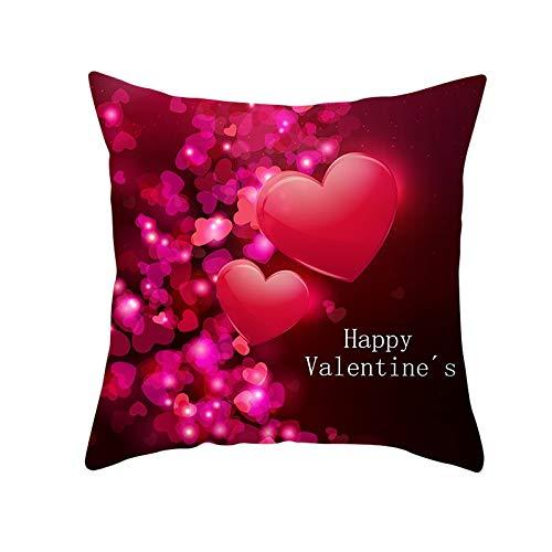 Funda de Cojín Decorativos Funda de Almohada Amo el dia de san valentin Cuadrado Terciopelo Suave Cojines Decor con Cremallera Invisible para Sofá Decor Hogar Funda de Cojín M1652 Pillowcase,35x35cm