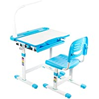 Vivo Height Adjustable Children's Desk and Chair with LED Lamp (Blue)