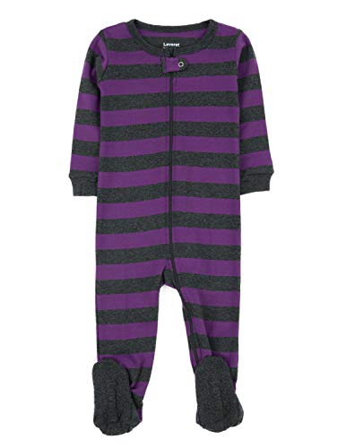 Leveret Striped Footed Pajama Sleeper 100% Cotton (0-3 Months, Purple & Grey)