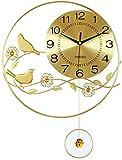 ZGYQGOO Reloj péndulo Reloj Pared silencioso gransin tictac Movimiento Cuarzo, Reloj Pared pájaro Flor 3D Dorado Adornos Decorativos