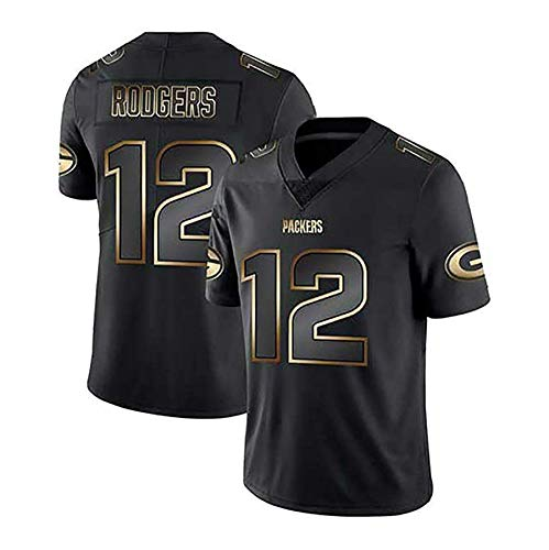 WFGY Camiseta del Jersey del Fútbol De La NFL Green Bay Packers Aaron Rodgers # 12 Fútbol Americano Ropa De Deporte Camiseta Vestimenta Ventiladores De Bordado Versión Fan Camisetas,L