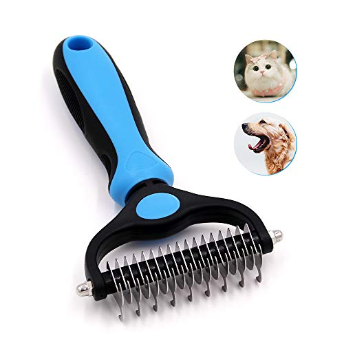 Jaswell Pet Grooming Tools Brush Dematting Comb for Dogs& Cats 2 Sided Undercoat Rake for Easy Mats &Tangles Removing (Blue)