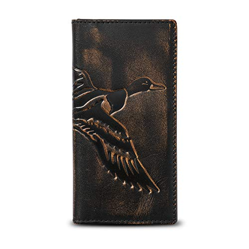 HOJ Co. DUCK Long Bifold Wallet   Full Grain Leather With Hand Burnished Finish   TALL Wallet   Rodeo Wallet   Duck Hunter Gift