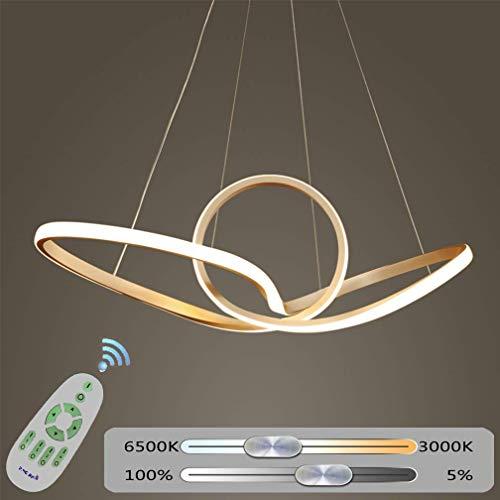 Lineaire LED Chic Dimbaar Hanglamp Eettafel Zwart Kroonluchter Woonkamer Keuken met Afstandsbediening Hanglamp, Moderne Eetkamer Flush Mount Acryl Slaapkamer Plafond Licht (Wit, 23,6