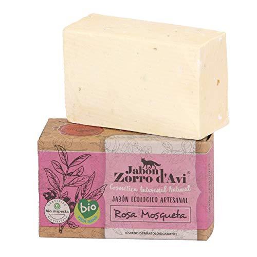 Jabón Zorro D'AVI | Jabón Natural Ecológico de Rosa Mosqueta | 120 gr | Antiestrías, Reafirmante y Regenerador | Jabón Biodegradable Zero Waste | Jabón Facial y Corporal | Fabricado en España