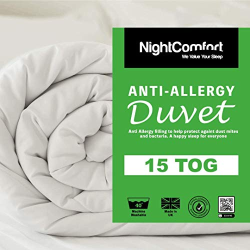 Night Comfort Feels Like Down Anti Allergy 15 Tog Winter Warm Ultra Snuggle Duvet Quilt (Single)