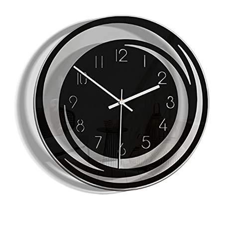 YVX Hogar Creativo Decoración de Sala de Estar Reloj de Pared de acrílico Modelos de explosión Reloj Transparente Minimalista de Estilo nórdico (Color: Negro)