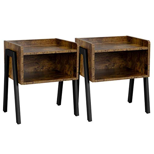 YAHEETECH Industrial End Table with Storage Drawer, Set of 2 Stackable End Tables, Sofa Side Table for Small Spaces, Wood Look Accent Furniture with Iron Legs, Rustic Brown
