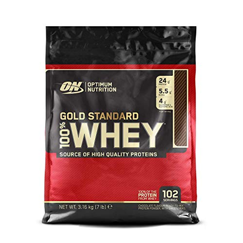Optimum Nutrition Gold Standard Whey Protein Powder Muscle Building Supplements with Glutamine and Amino Acids, Double Rich Chocolate, 102 Servings, 3.16 kg