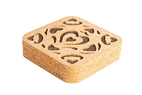 NTReasy 5-Pack Cork Pot Trivets, Pot Mats, Modern Kitchen Decor, 7.68 x 7.68 x0.32 Square With Unique Flower Shape Carving, Absorbent Heat Resistant Reusable,For Hot Pots, Pans, and Kettles
