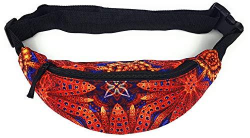 Riñonera con 2 bolsillos exteriores y compartimento interior con cremallera en diferentes diseños, riñonera Rojo rojo flores
