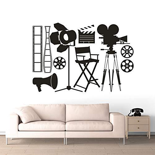 Herramientas para hacer películas Calcomanías de pared Luces de punto Cámara Pegatina de pared Clips Extraíble Papel pintado Cine Decoración A1 83x57cm