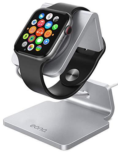 Eono by Amazon - Supporto para Apple Watch, Aluminio Soporte Dock per Apple Watch Series SE, 6, 5, 4, 3, 2, 1, iWatch 44mm / 42mm / 40mm / 38mm, Compatible con el Modo Nightstand - Argento