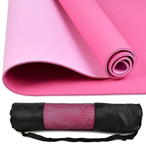 TIMESETL Estera de Yoga TPE Premium, Colchoneta de Deporte y Ejercicio Grande Yoga Pilates con Correa de Transporte 183cm x 60cm x 1cm, Estera de Gimnasia Rosa