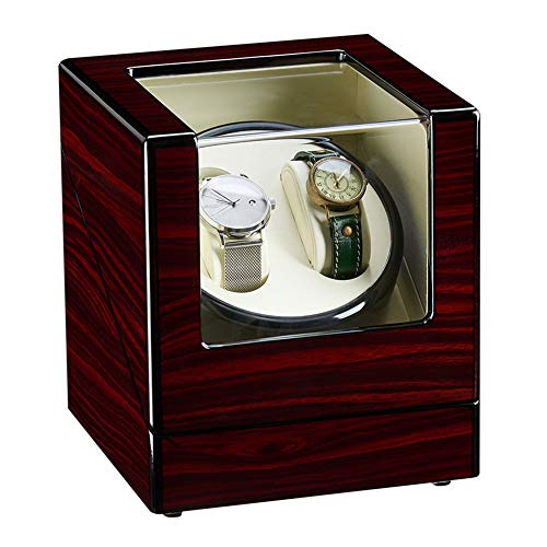 LJP Doble Automático Cajas Giratorias para Relojes Madera Lujo Almacenamiento Caso para 2 Relojes De Pulsera Cuero Almohadas Motor Silencioso
