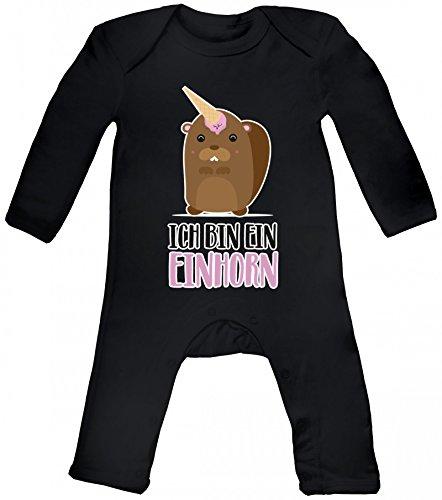 süße Geschenkidee Unicorn Eis Ice Cream Baby Strampler Langarm Schlafanzug Jungen Mädchen Bieber - Ich bin ein Einhorn, Größe: 12-18 Monate,Black