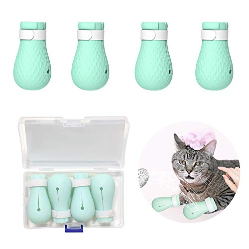 Highland Farms Select 4 Pcs Anti-Scratch Cat Shoes Boots Cover - Adjustable Rubber Precaution Scratch Cat Paw Protector for Home Bathing, Shaving Checking Treatment