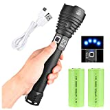 LED Flashlights High Lumens 100000 Lumens, Zoomable & Water Resistant XHP90 Rechargeable Flashlights & 2Pcs 26650 Battery 5000mah & USB Rechargeable, 3 Modes Searchlight for Outdoor or Home Emergency