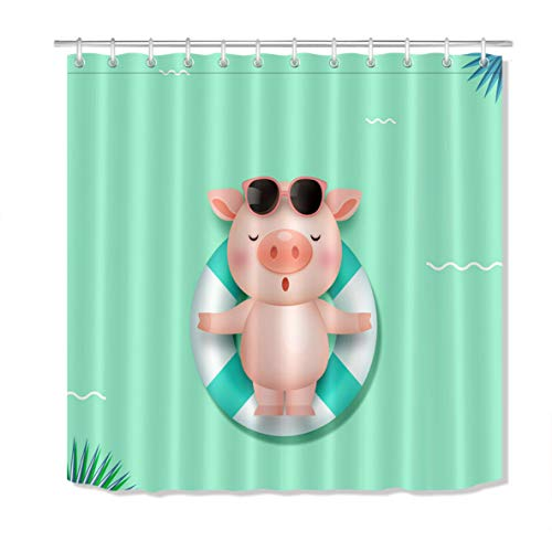 dsgrdhrty Nettes Schwein'schwimmen Badezimmer Duschvorhang dekorativen Stil wasserdicht 180x180