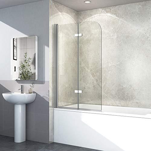 EMKE Duschtrennwand 110x140cm Faltwand Duschwand für Badewanne 180° Schwenkbar Badewannenaufsatz mit Beidseitige Nanobeschichtung