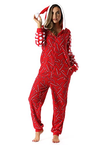 6445-M #FollowMe Adult Onesie / Womens Pajamas, Candy Cane Santa, Medium