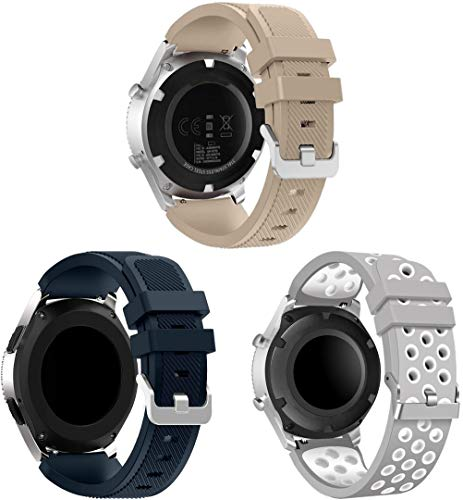 NeatCase Correa de Reloj Recambios Correa Relojes Caucho Compatible con TicWatch Pro/Pro 4G LTE / S2 / E2 / GTX - Silicona Correa Reloj con Hebilla (22mm, 3PCS A)