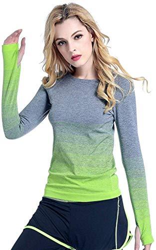 Damen Laufshirt Langarm Funktionsshirt Workout Oberteil Gym Sport Shirt Top(Grün,M)