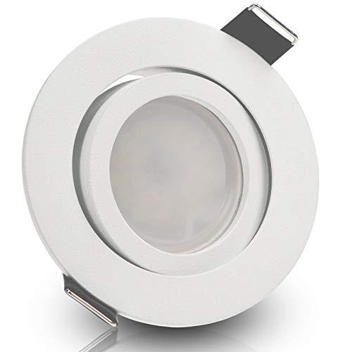 BIANCO 5er Set 230V LED 5W dimmbar Decken Einbaustrahler ultra flach (rund) WEIß WEISS MATT Neutralweiß (4000k) nur 35 mm Einbautiefe schwenkbar Leuchtmittel austauschbar