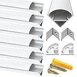 Chesbung Canales de aluminio led en forma de V, 6 unidades, 1 metro/3.3 pies, perfil de aluminio led con cubierta. Canales y difusores LED con tapas y clips de montaje