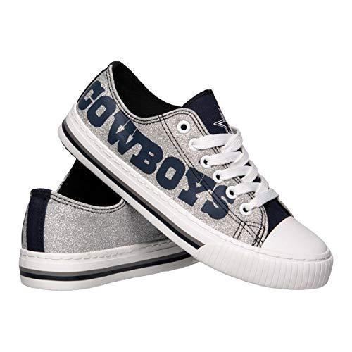 FOCO NFL Dallas Cowboys Women s Ladies Glitter Low Top Canvas Sneaker Shoes, Team Color, 7 M