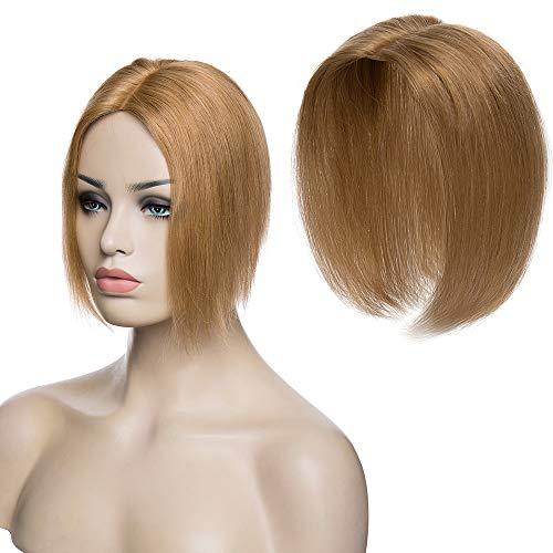 "TESS Pony Haarteil Topper Clip in Extensions Echthaar Toupee Haarverlängerung Lace Front Closure Toupet für Frauen 12""(30cm) 20g #27 Dunkelblond"