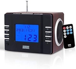 英国品牌 August奥科斯 MB300H 便携音箱 FM收音 可插USB/SD卡 时间显示 可设置闹钟 可充电音箱 中美日欧10 国?#25945;?#21516;步销售 ?#20998;时?#35777; (A 深棕色)