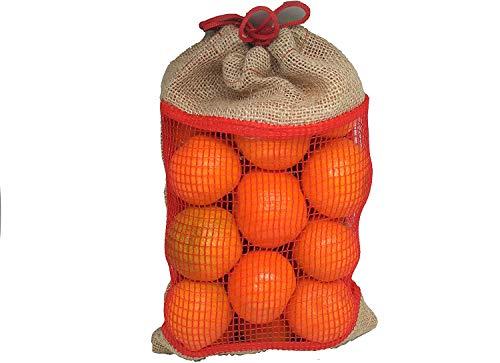 PAMPOLS Sacos de Yute de Tela Arpillera Bolsas Reutilizables para Fruta y Verduras, Ecológicas Biodegradables con Cierre de Cuerda Ajustable | Malla Traspirable para Alimentos a Granel (10)