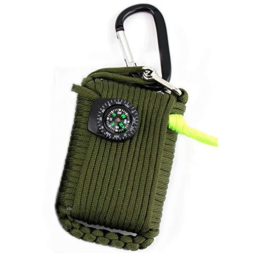 Huaanlonguk Kit de Survie d'urgence, 29 en 1 Ensembles de Premiers Soins de la Grenade Paracord Mini-sifflet Ensemble de démarrage du Pompier Survival Baits Compass (Vert Militaire)
