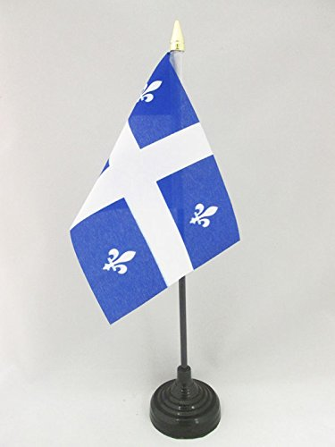 AZ FLAG TISCHFLAGGE Quebec 15x10cm goldene splitze - Quebec TISCHFAHNE 10 x 15 cm - flaggen