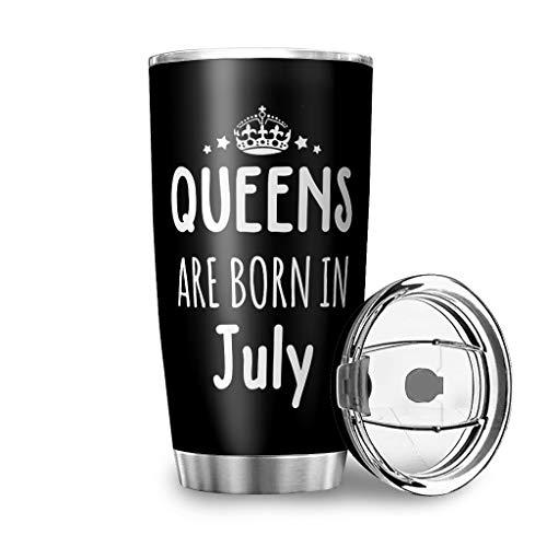 WOSITON Queen Are Born In Juli 3D bedruckte Vakuumisolierung Edelstahl Thermos Kaffeetasse weiß 600ml