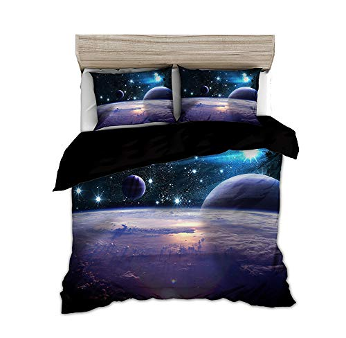 Timiany Bedding Set 3D Galaxy Starry Sky Universe Moon Trapunta E Federa 135x200+80x80cm Copripiumino per Bambini per Letti Singoli/matrimoniali (Pianeti,155x220+50x75)