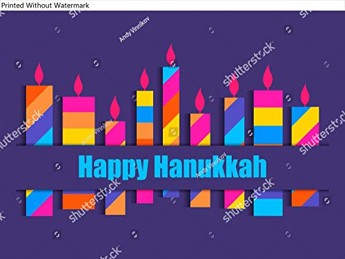 KwikMedia Poster of Happy Hanukkah. Hanukkah Candles. Nine Multi Colored Candles. Illustration
