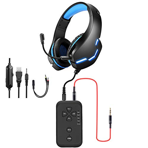 PUTELTAL Voice Changer Headset, LED Light Noise Cancelling Over Ear Headphones, Gaming Headset with Voice Changer for Phone/PS4/PS5/Xbox/PC/Laptop/XBOX ONE