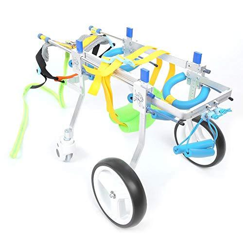 Ruedas para carritos para Perros, rehabilitación de extremidades traseras para Mascotas de 4 Ruedas Silla de Ruedas Auxiliar para discapacitados paralíticos Gato para Gatos Silla de Ruedas (S)