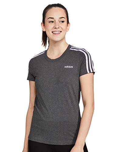 adidas T-Shirt Essential 3Streifen Slim T-Shirt, Dgreyh/Prptnt, S, FM6428