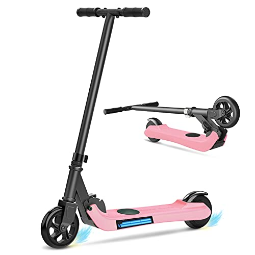 MIHOVER Electric Scooter for Kids Ages 6-12, Kick-Start Boost Kids Scooter, Lightweight and Foldable, 5' Tires, UL Certified - Best Gifts for Boys & Girls-Pink