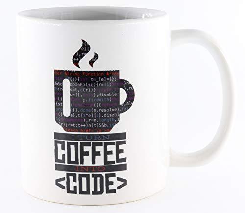 PICSonPAPER Tasse mit Spruch I Turn Coffee into Code, Kaffeetasse, Keramiktasse, Tasse mit lustigem Spruch, Nerd-Tasse, Tasse für Programmierer, Tasse für Computerfreaks