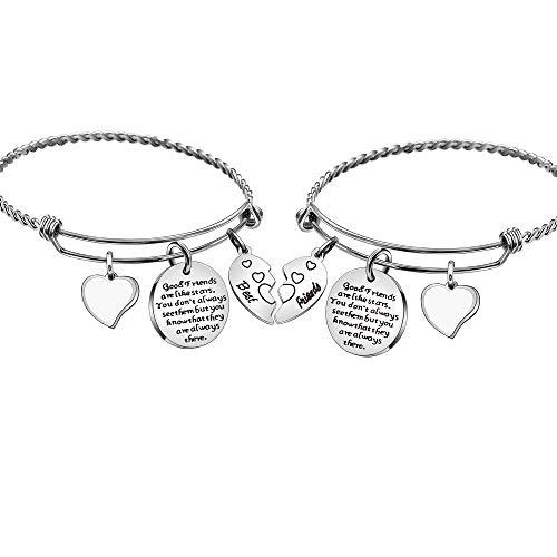 Angelra Beste Freundin Armband für Mädchen Frauen Armreif Freundschaftsgeschenke Gute Freunde sind wie Sterne, die man nicht immer sieht, aber man weiß, dass sie immer da sind
