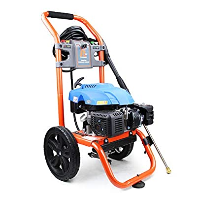 P1PE Petrol Washer 196cc 6.5hp Engine 2800psi / 207 Bar Heavy Duty 8meter Hose, Quick Connection Trigger Gun, High Pressure Lance, Turbo Selection of Standard Nozzles. P3000PWA, Orange by P1pE