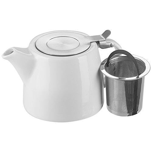 Benail, teiera con infusore e coperchio, teiera in ceramica con infusore in acciaio inox  White