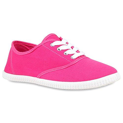 stiefelparadies Sportliche Damen Herren Sneakers Unisex Basic Freizeit Schnürer Stoff Prints viele Farben Schuhe 112763 Pink 38 Flandell