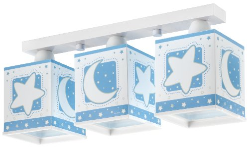 Dalber Rampe 3 Lampes Carrées - Lune/Etoiles - Bleu